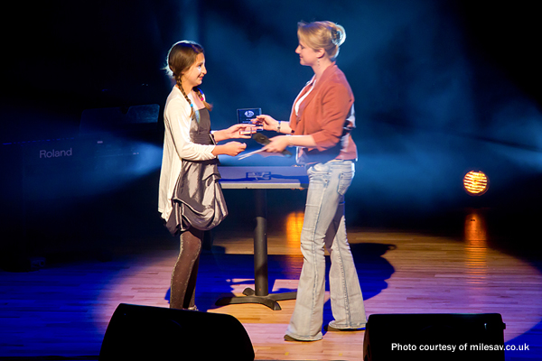 Jo presenting Milly with the Student of the Year Award 2011